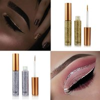 Wholesale White Liquid Liner - 2018 New Glitter Eyes Make Up Liner For Women Easy to Wear Waterproof Pigmented Red White Gold Liquid Eyeliner Glitter Makeup