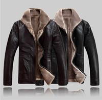 искусственные овчины куртки мужчин оптовых-Повседневный дизайн овчины короткая куртка меховая искусственная кожа куртка мужская куртка теплая флис Зимняя кожаная одежда Мужская меховая верхняя одежда