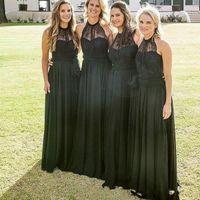 Wholesale elegant halter lace wedding dress online - 2017 Black Elegant Bridesmaid Dresses for Wedding Halter Sleeveless Wedding Guest Wear Chiffon Plus Size Modest Maid Of Honor Dresses Cheap