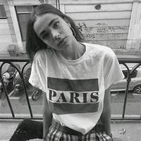 Wholesale vintage paris prints - PARIS Short Sleeve T Shirts for Women INS Vintage Letter Printed Tees Free Shipping Summer O-Neck Slim Fit T shirt