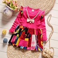 Wholesale Full Neck Necklaces - Girl skirt Spring long sleeves dress children skirt small broken flower necklace princess skirt tide