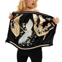 jaqueta de cetim de poliéster venda por atacado-Casaco de Poliéster Feminino Casaco de Cetim Outono Inverno Street Jacket Mulheres Curtas Casuais Jaquetas De Beisebol Básico Outerwear Reversível
