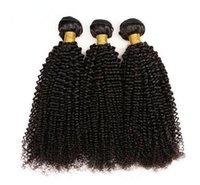 afro kinky kıvırcık insan saçı örgüleri toptan satış-Afro Kinky Kıvırcık İnsan Saç Paketler Remy Saç Doğal Siyah 3 Demetleri Tam End Hayır Arapsaçı Saç Dokuma Ile