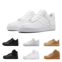 entraîneur d'air faible achat en gros de-Nike AIR FORCE 1 AF1 one 2018 Date Forçage 1 Haute Spécial Champ Noir Blé Blanc Chaussures Hommes Femmes Sport Chaussures Sneakers Chaussures De Skate Taille 41-45