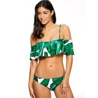 un maillot de bain vert épaule achat en gros de-Maillot de bain vert pour les femmes vert feuille fronde avec un mot épaule lotus feuille bikini usine en gros