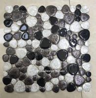 wholesale white paper roll 2018 - Black White Ceramic Pebble Mosaic Tile kitchen wallpaper bathroom swimming pool shower floor fireplace TV backgroud wall tiles