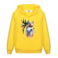 Wholesale animal fox hoodie for sale - Harajuku Fox Spring Girls Clothing Kids Pullover Hoodies Sweatshirt Full Sleeve O neck Animal Print Sudaderas Mujer