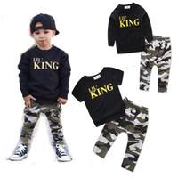 ingrosso camuffamento dei vestiti del bambino-Baby Camouflage abiti ragazzi lettera top + pantaloni mimetici 2pcs / set cotone bambini Set di abbigliamento C3493