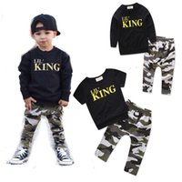 Wholesale baby clothing outfits online - Baby Camouflage outfits boys letter top Camouflage pants set cotton kids Clothing Sets C3493