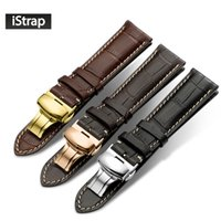Wholesale Watch Leather Strap 19mm - Watchband Leather Black Brown Dark brown iStrap Watch Band 18mm 19mm 20mm 21mm 22mm Replacement Strap Polished Deployment Buckle