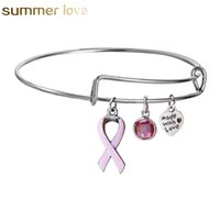 pulseras del encanto de enfermería al por mayor-Pink Ribbon Cáncer de Mama Charm Bracelets Nuevo Diseñador Extensible Alambre Pulsera Brazalete de Regalo Para Las Mujeres Enfermería Superviviente Joyería