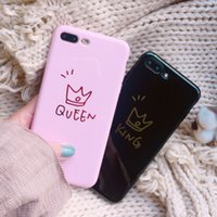 Wholesale Glossy Crown Phone Case For iphone X Case For iphone Plus S Plus Cute Letter KING QUEEN Soft TPU Couples Back Cover