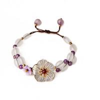 ingrosso fiore di cristallo fatto a mano del branello-Bracciale con cordino in cristallo viola Bracciale con conchiglia in fiore stile cinese Bracciale con ciondolo a forma di perline fatto a mano per le donne
