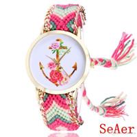 montres de bonbons achat en gros de-Anchor Doux Fleurs Tissé Montre Femmes Mode Bracelet Montres Livraison Gratuite WR017