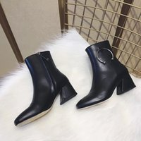 Wholesale New Fashion Half Ring - The new square ladder with boots all-match metal ring light leather leather shoes