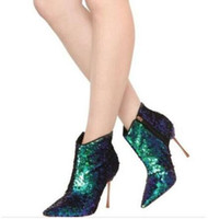 botines de colores al por mayor-2018 Bling Bling Paillette Hot Fashion Colorful Glitter Botines señalados a los zapatos de fiesta Golden Heel Sexy Girl Boots