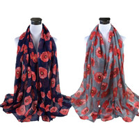 ingrosso sciarpa rossa del collo-Sciarpa rossa da donna Sciarpa rossa con stampa papavero Sciarpa marmitta Sciarpa morbida da spiaggia in misto cotone con collo a scialle