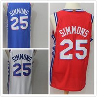 Wholesale ben shirt - Men's Basketball Jerseys 25 Ben Simmons New 2018 Fashion Jersey Blue White Red SizeS-XXL Men polo shirt