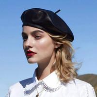 e6839bb9331f64 Luxus Mode Herbst Winter Schwarz Pu-leder Beret Hüte Frauen Warme Kappen  Weibliche Französisch Femme Marke Design Einstellbare Mütze Hut