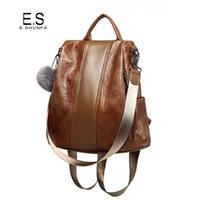 рюкзак из коричневого pu кожи оптовых-Повседневная женщины Backpac2018 новая мода старинные искусственная кожа рюкзак черный коричневый высокое качество лоскутное рюкзак женщина сумка
