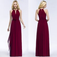 Wholesale design beach wedding dress - 2018 Summer Beach Casual Evening Dresses Burgundy Chiffon Bridesmaid Dresses For Wedding Party Sexy Halter Design Sash CPS868