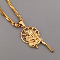 Wholesale hippie pendants - hip hop Jewelry dancer rock plating 18K real gold jesus piece necklace hippie hipster jewellery women male promotions