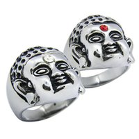 Wholesale blessing mix - 1pc Size 7-13 Crystal Buddha Ring 316L Stainless Steel Popular Fashion Jewelry Biker Hiphop Style Hot Selling Blessing Buddha Ring