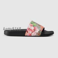 мужские тапочки оптовых-2018 Мужская и женская мода пляж слайд сандалии мужской женский цветок цветет печати кожаные тапочки размер euro35-45