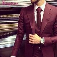 traje pitillo burdeos al por mayor-Linyixun Latest Coat Pant Design trajes de boda de Borgoña para hombres Slim Fit Skinny 3 piezas de novio smoking Bañador de traje personalizado