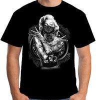 lindos pops venda por atacado-Velocitee Camisa Dos Homens T Marilyn Monroe Fora Da Lei Pop Art Tatuagem Gangster A18519 2018 T engraçado 100% algodão legal lindo verão t-shirt Tops
