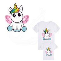 Wholesale Wholesale Clothing Sweaters - Hot Dabbing Wings Unicorn animal patches child T-shirt Dresses Sweater thermal transfer Patch for clothing By Household Irons