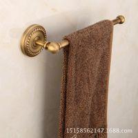Wholesale single towel rack resale online - European copper antique towel rack towel bar antique bathroom hardware pendant copper bathroom pendant single pole