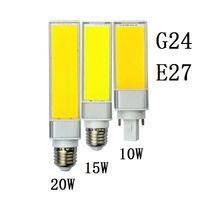 lámpara led horizontal al por mayor-Lampada E27 G24 10W 15W 20W SMD COB AC85V-265V Lámpara de enchufe horizontal Cálido Bombillas blancas Led PL Bulbo de maíz 180 grados Punto de luz