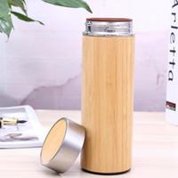 regalos de negocios de regalos al por mayor-Taza de aislamiento térmico de bambú Cerámica Liner Purple Sand Liner Termo de acero inoxidable Negocio Souvenirs de regalo ZA6816