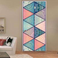 diy paper bedroom art großhandel-2 teile / satz 3D Islamischen Stil DIY Tür Kunst Wandaufkleber Simulation Arabischen Stil Tür Wandaufkleber Wohnzimmer Schlafzimmer Dekor Poster