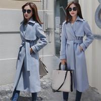 mavi palto toptan satış-ABD İNGILTERE Yeni 2019 Güz / Kış Kadın Açık mavi Boy Basit Kuşaklı Uzun Ceket Kadın Palto manteau femme casaco feminino