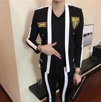 terno branco das riscas da marinha venda por atacado-HOT 2018 Novo (terno + calça) cantor de roupas masculinas DJ GD preto branco costura emblema terno conjunto coreano slim trajes de palco vestido formal S-XXL