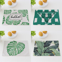 Wholesale bamboo protection for sale - Mat Green Plants Cotton Linen Fabric Art Table Pad Heat Insulation Nonslip Environmental Protection Coasters Easy To Carry ct V