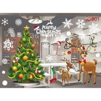 kunstpelzstrümpfe großhandel-Liefern Neue Weihnachtsdekoration Glas Film Membran Farbe Glas Fenster Hintergrund Wand Papier Kreative Removable Window Decor
