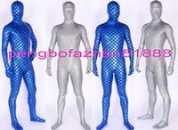 Wholesale Blue Fish Costume - Blue and Silver Shiny Lycra Metallic Fish Scale Mermaid Suit Catsuit Costumes Unisex Fish Scale Costumes Outfit Halloween Cosplay Suit P056