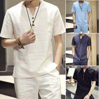 Wholesale linen mens clothing - Man Set T-shirts Tees Tops & Shorts Suits Men Brand Clothing Cotton Blend 2 Piece Set Mens Short Sets Plus 5XL