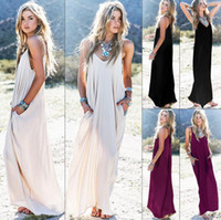 ingrosso boho-Estate femminile Boho Casual Long Maxi Evening Party Cocktail Beach Dress Sundress Belt Collar Tasche Gonne lunghe Sexy Abito donna KKA4087
