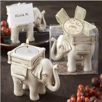 elfenbein antiquitäten großhandel-Lucky Elephant Antique Ivory Kerzenhalter Platzkartenhalter Kerzenhalter Geburtstag Hochzeit Dekoration Handwerk Geschenk