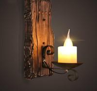 lampes de marbre vintage achat en gros de-Nouveau Vintage Rétro Noir Vintage Sconce Lodge Lodge Lampes Murales En Fer Artificielle Marbre Bougie Abat-Jour Luminaire Applique