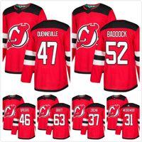 hokey forması pavel toptan satış-Erkek 2018 Yeni Jersey Devils 47 Kevin Rooney Scott Wedgewood 46 Blake Speers 37 Pavel Zacha 52 Baddock Jesper Bratt Hokeyi Formaları Kırmızı