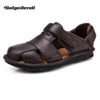 большие туфли мужские повседневная обувь оптовых-US 6-12 Big Size 45 46 Summer Mens Real Leather Casual Close Toe Hook Loop Sandals Comfy Sport Outdoor Hollowed-Out Beach Shoes