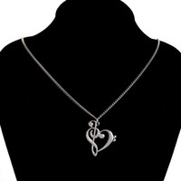 Wholesale musical note necklace silver - Minimalist Simple Fashion Hollow Heart Shaped Musical Note Pendant Necklace Music Jewelry Gold Silver Special Gift