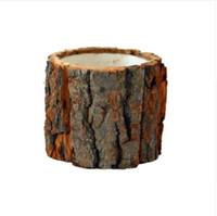 ingrosso bonsai che forma-Foresta Serie Corteccia Forma Succulente Vaso da fiori in legno naturale Piccolo vaso Bonsai Home Decor Trasporto veloce