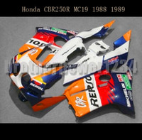 honda rr plastik toptan satış-Honda CBR250RR MC19 1988 1989 için Fairing Kitleri Fit CBR250 RR MC 19 88 89) Plastik ABS Enjeksiyon Kalıp Komple