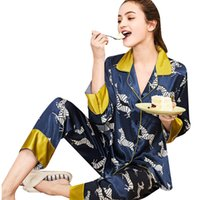 eb339ff43c NZ  34.31 · Womens Sleep Pajama Sets Spring Casual Full Animal Print Turn  Down Collar Full Length Tracksuit Two Piece Suit Pajama Sets. 36% Off